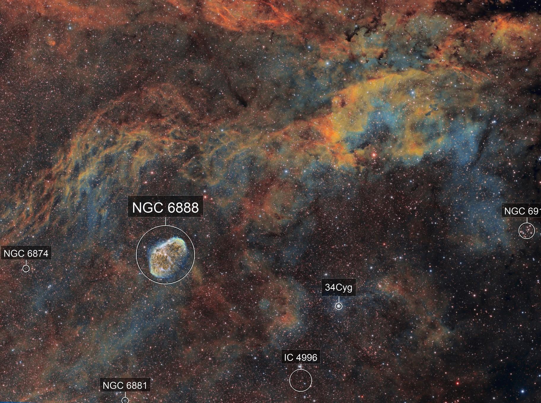 Ngc 6888- la nébuleuse du croissant SHO