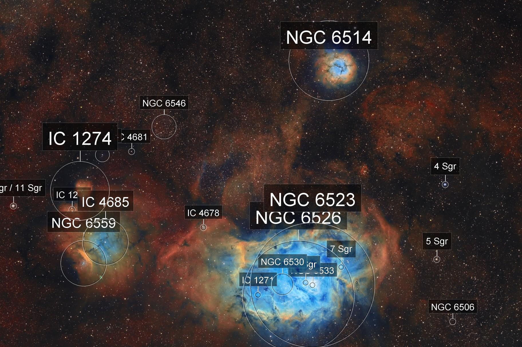 M8-M20-nebuleuses de la lagune et trifide SHO