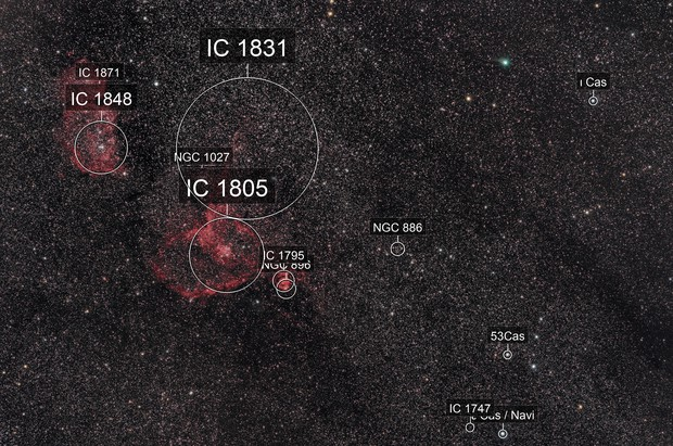 IC 1805 and comet C2017/T2