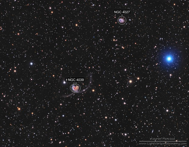 NGC4038-NGC4039 Antennae Galaxies and NGC4027 Galaxy in LRGB