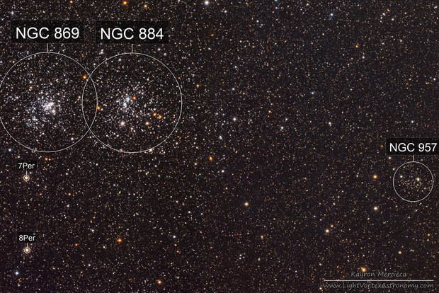 NGC869-NGC884 Double Cluster and NGC957 Star Cluster in LRGB
