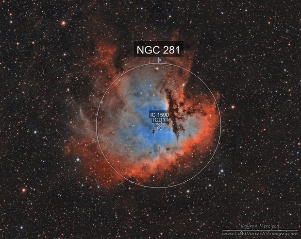NGC281 Pacman Nebula in Narrowband Hubble Palette