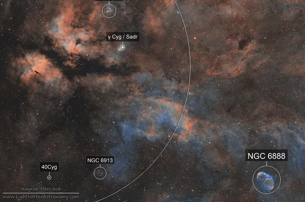 IC1318 Gamma Cygni Nebula and NGC6888 Crescent Nebula in Narrowband Hubble Palette