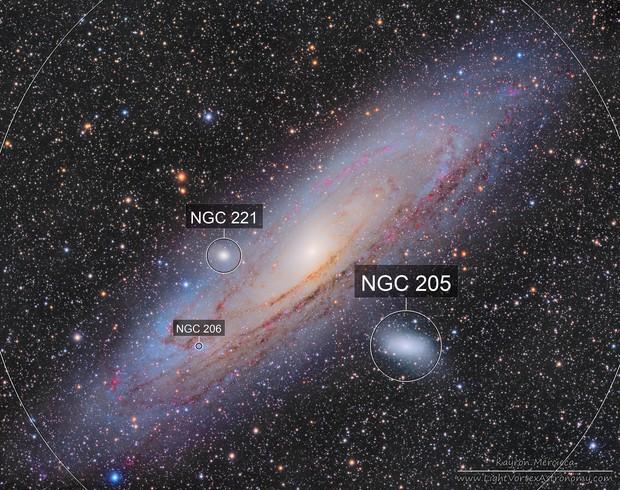 M31 Andromeda Galaxy, M32 and M110 Galaxies in L(R+HA)GB