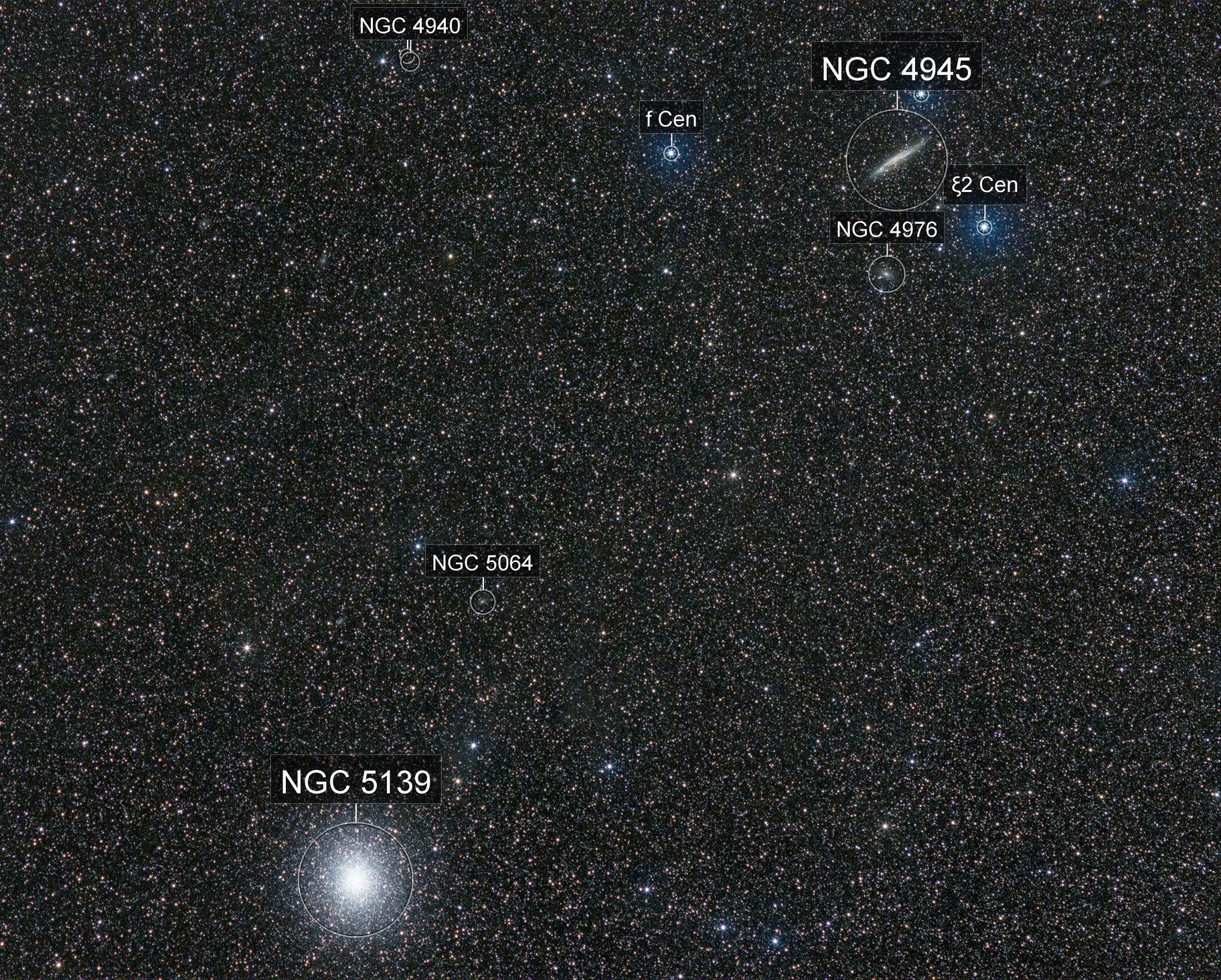 NGC 5139  and  NGC 4945 top right.