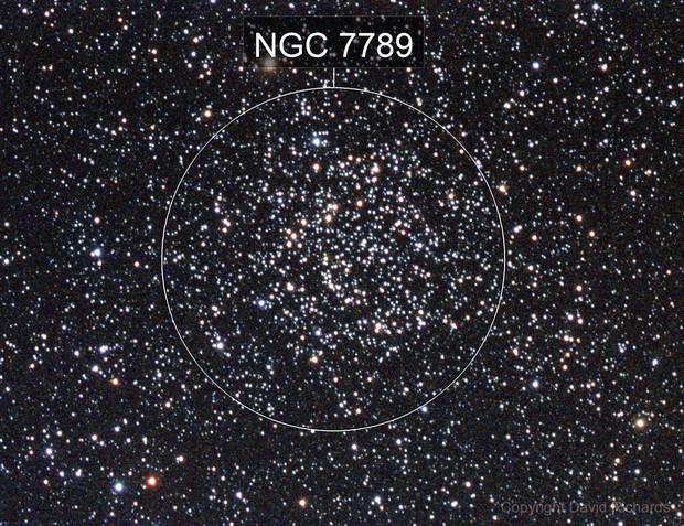 NGC 7789, Caroline's Rose, LRGB, 86% waning moon