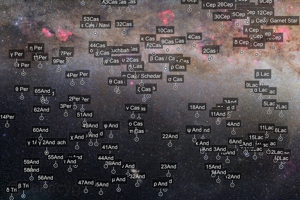 The Andromeda Galaxy and Autumn Milkyway Around Cassiopeia