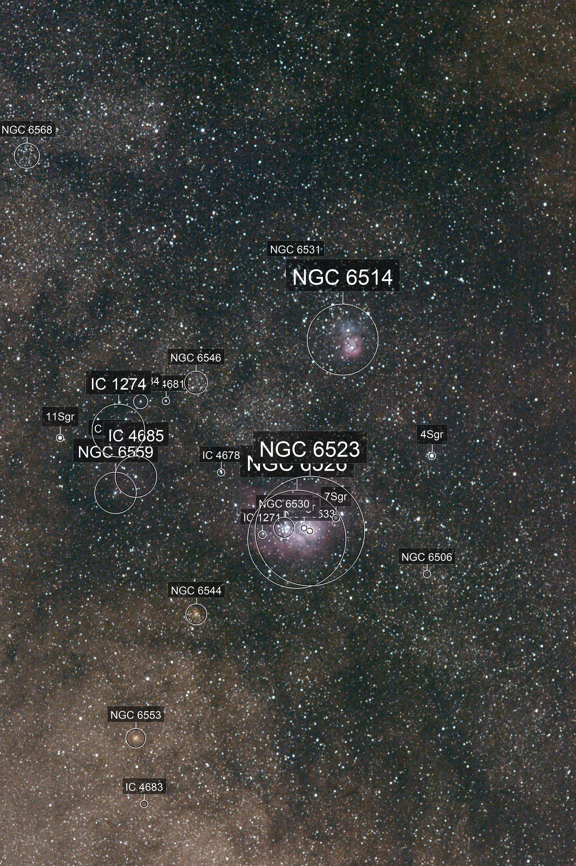 M8, M20, M21: Lagoon, Trifid, Webb's Cross