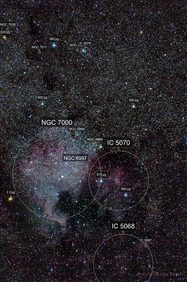 NGC7000 & IC5070. The North America and Pelican Nebula. 200mm