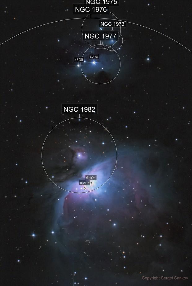 M42. The Great Orion Nebula and Running Man Nebula
