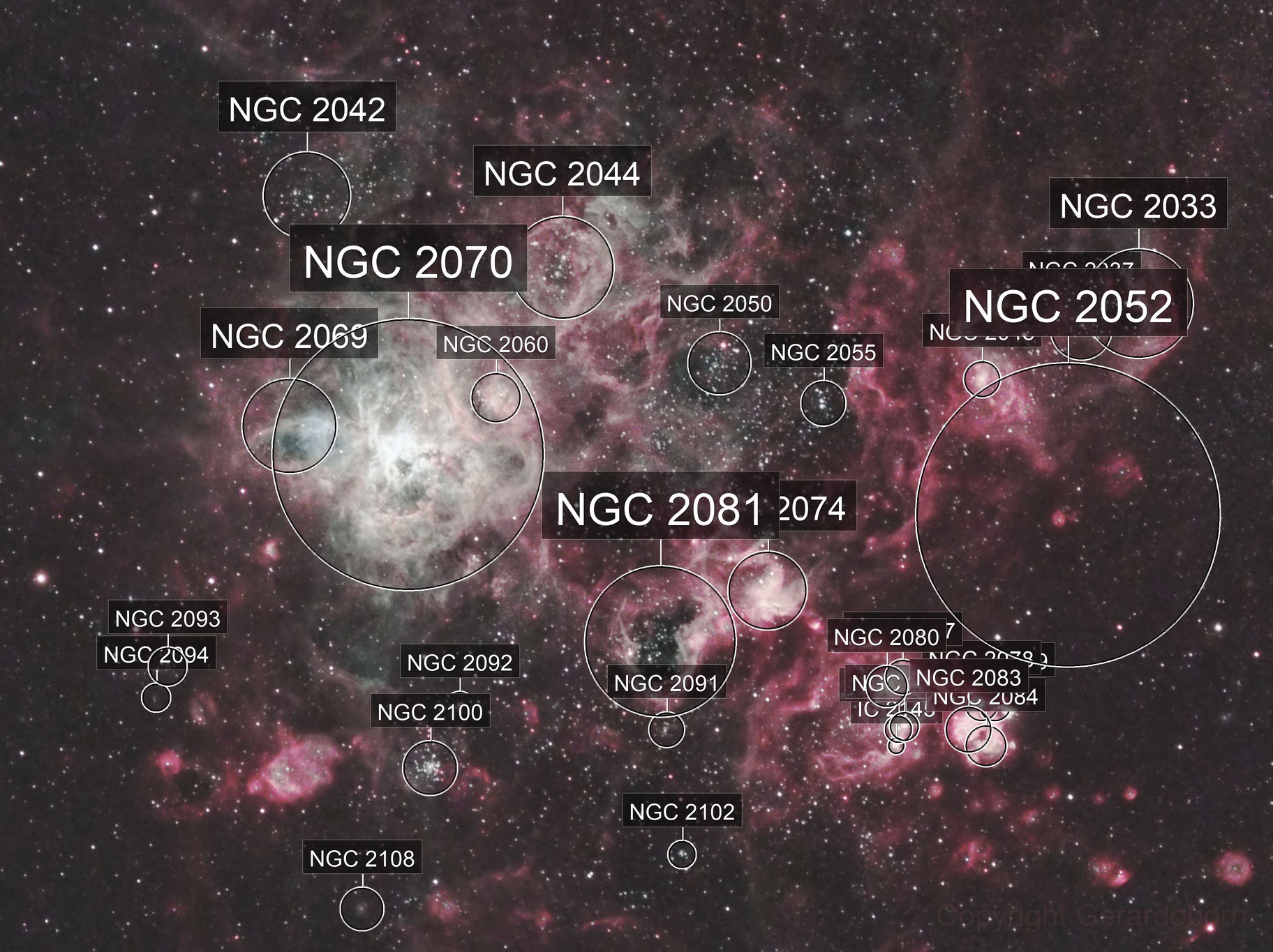Tarantula Nebula and Immediate Surrounds