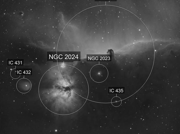 IC434+NGC2024 - Horsehead and flame nebulae - H.alpha