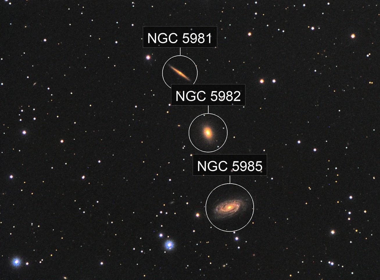 Draco Trio, NGC 5981, 5982, 5985