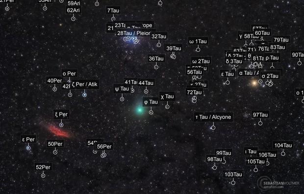 46P/Wirtanen, California Nebula, Plejades, Dark Clouds of Taurus and Aldebaran
