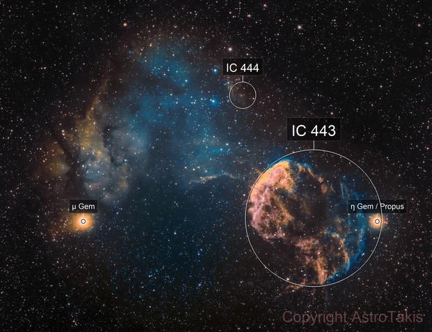 The Jellyfish Nebula IC 443 and Sharpless 249, SHO