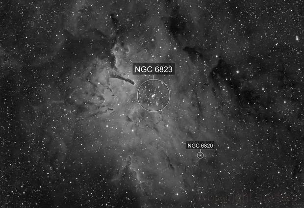 Emission Nebula NGC6820 with Open Cluster NGC6823