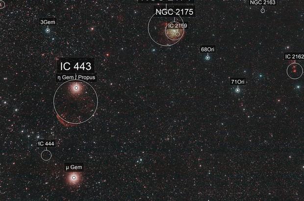 Monkey Head Nebula (NGC2174) and Gemini A (IC443)
