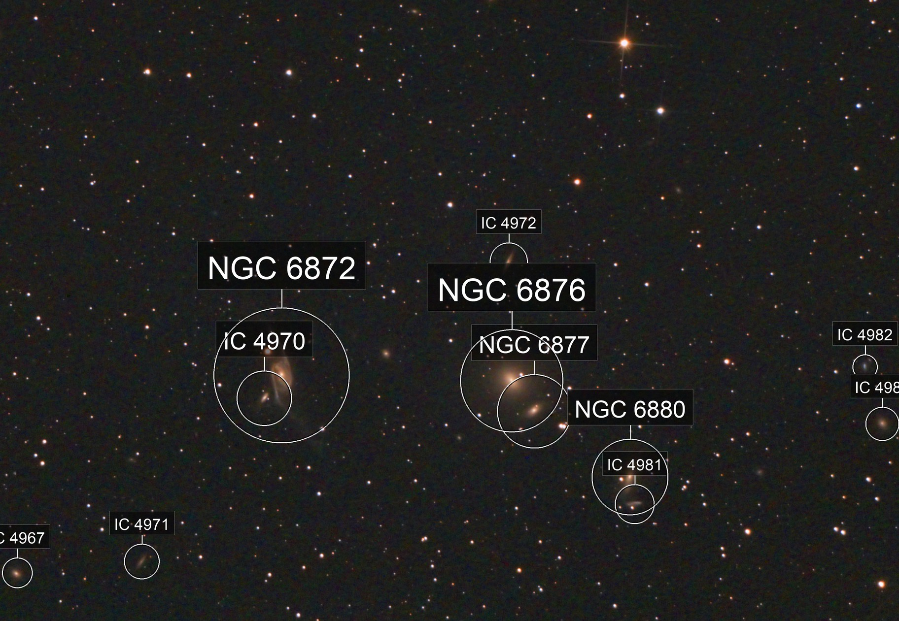 NGC 6872 the Condor Galaxy, and others.