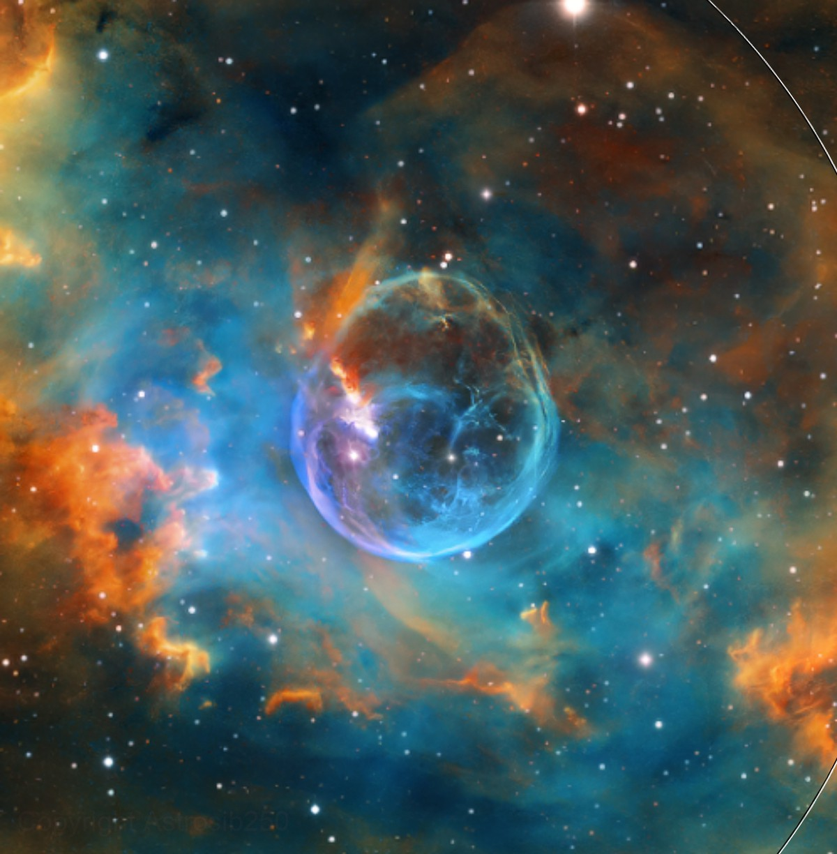 The Bubble Nebula NGC 7635  (Crop Center Details) (SHO)