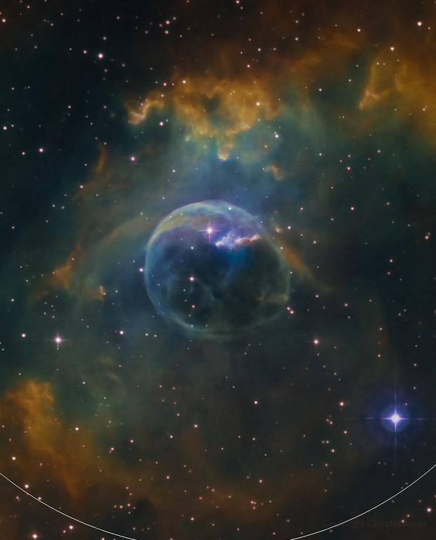 bubble nebula NGC 7635 closeup