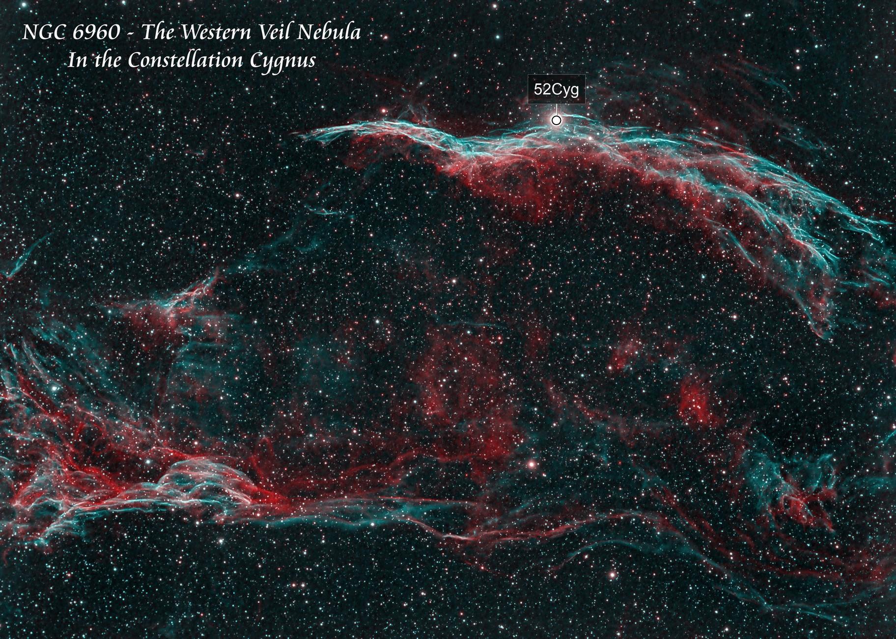 NGC 6960 The Western Veil Nebula  HOO