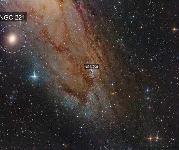 NGC 206  and 221 in Andromeda