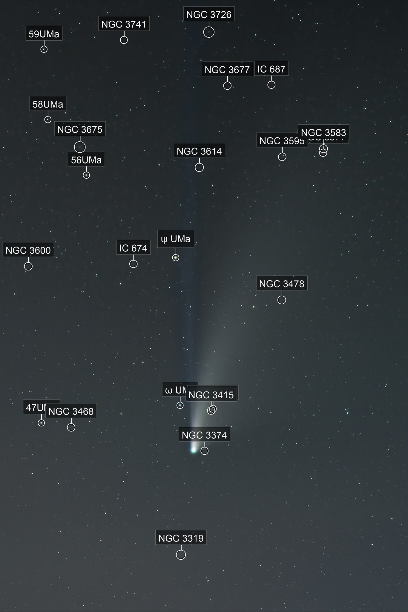 Long Ion Tail: Comet C/2020 F3 NEOWISE