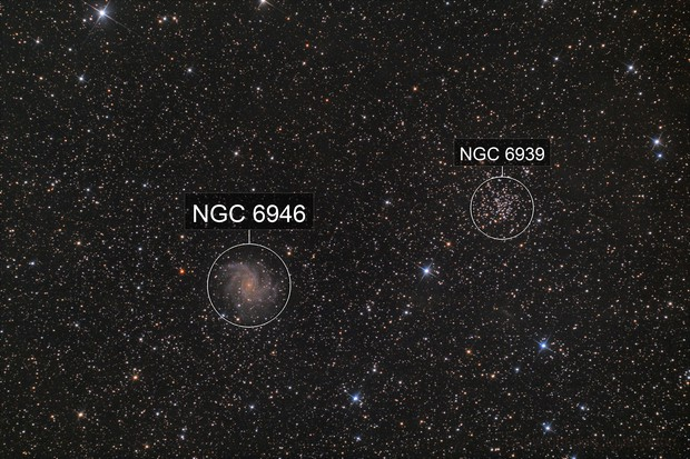 """NGC 6946 (""""Fireworks Galaxy"""") and NGC 6939"""