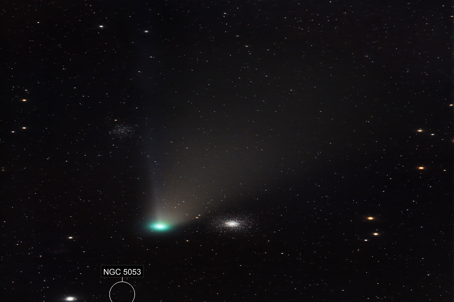 Comet Neowise with M53 and NGC5053
