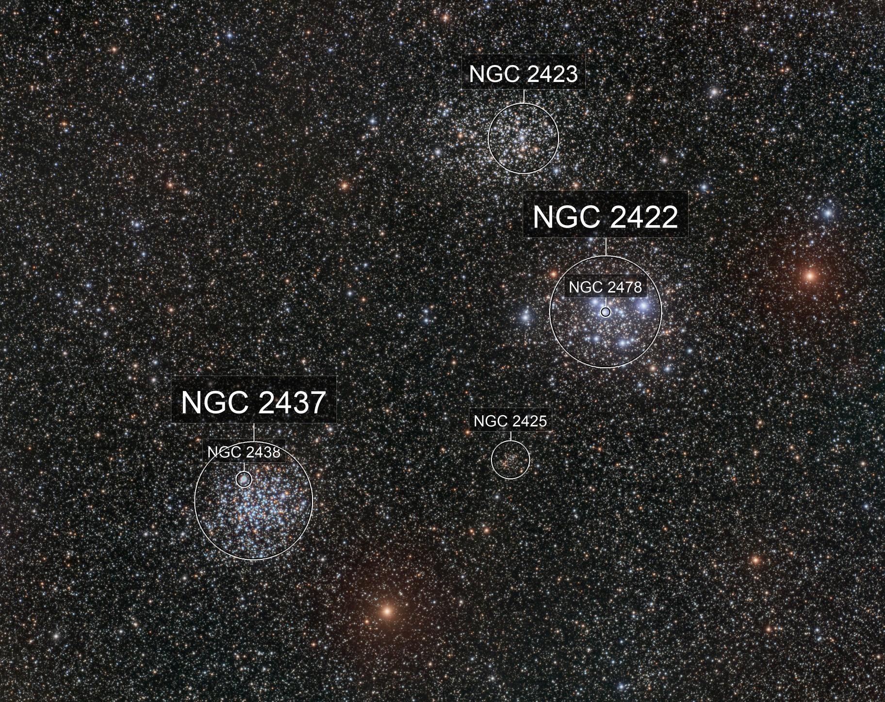 Three clusters in Puppis