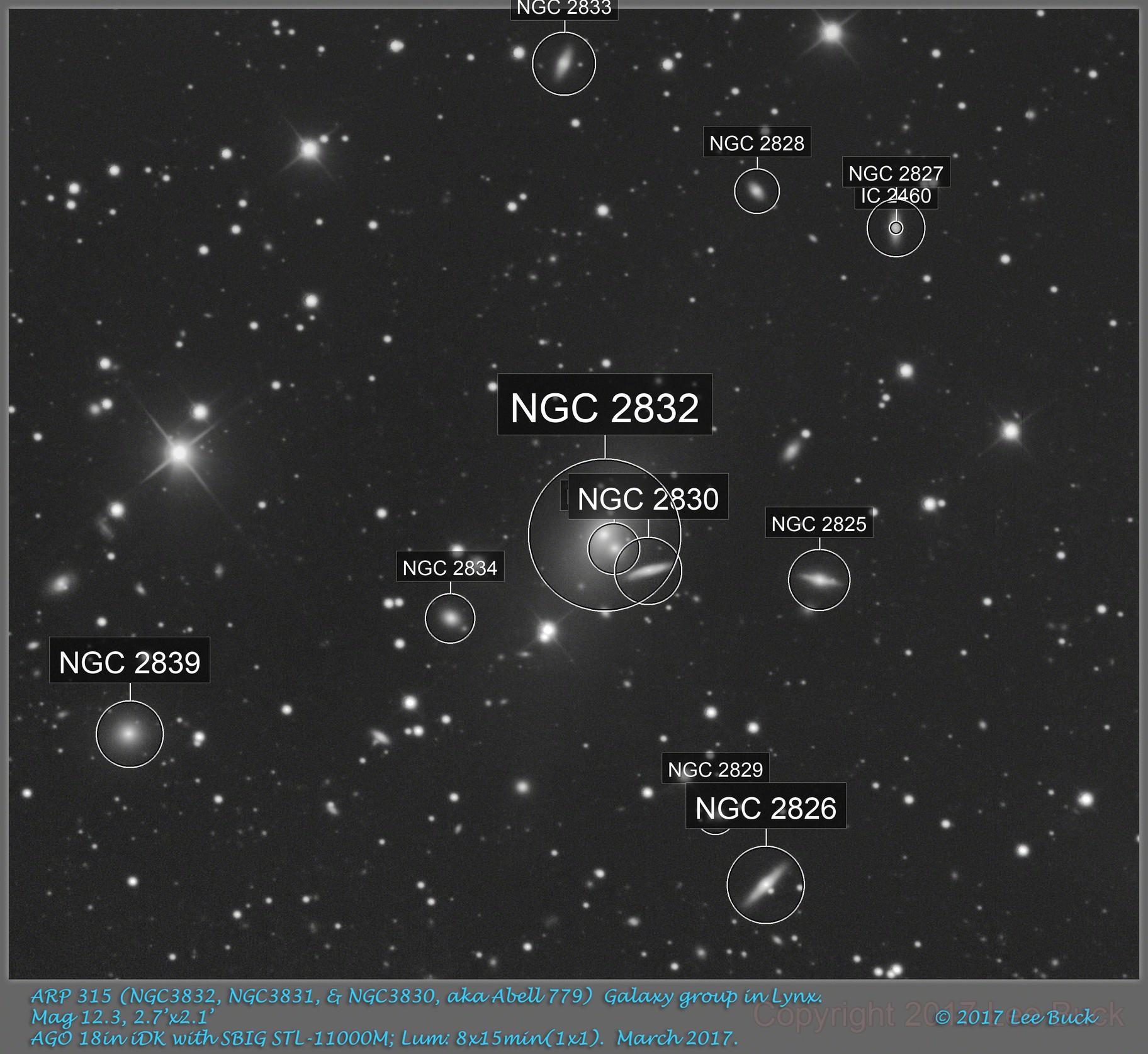 ARP 315 (NGC3832, NGC3831, & NGC3830, aka Abell 779)  Galaxy group in Lynx