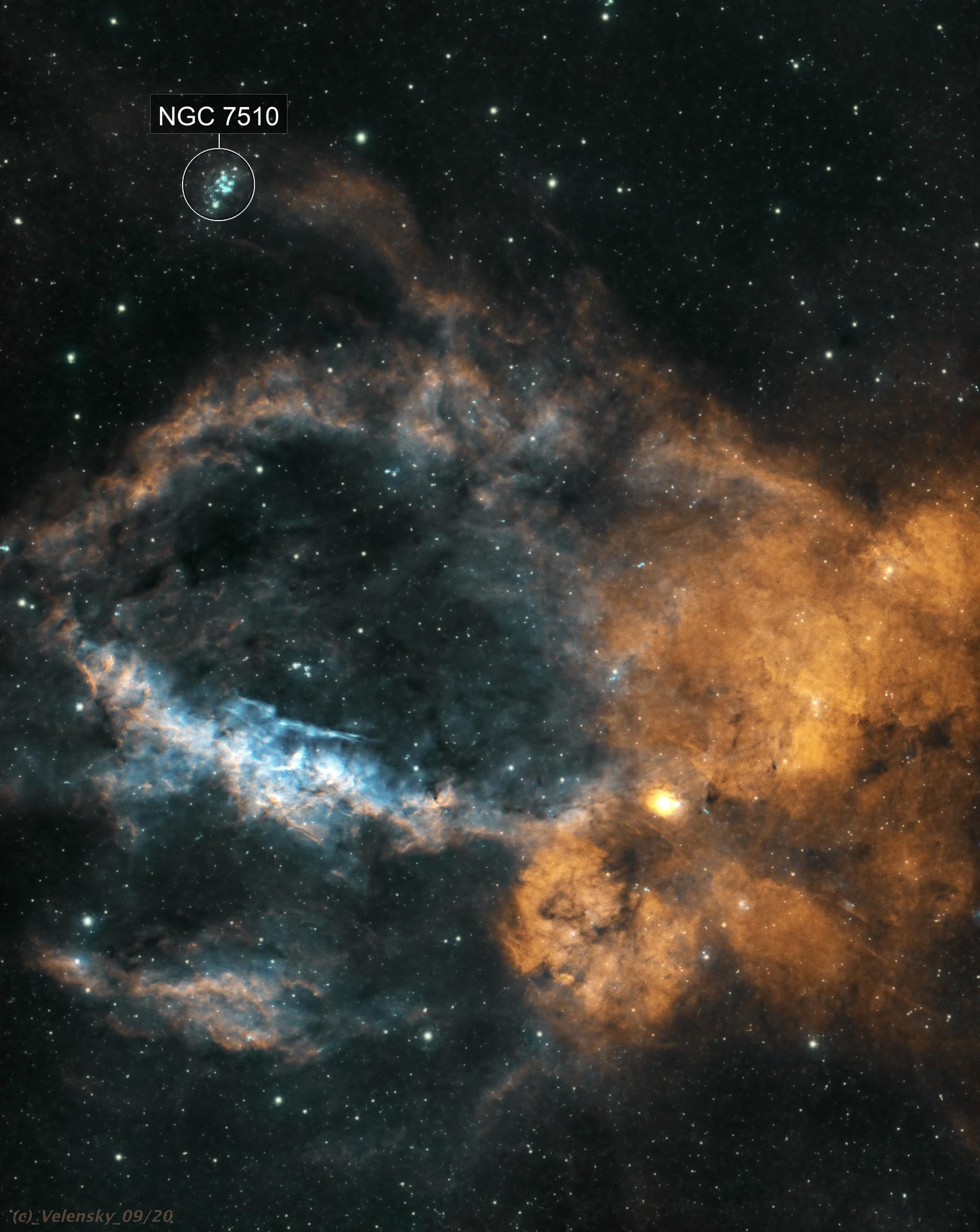 SH2-157 - Lobster Claw Nebula (HOO)