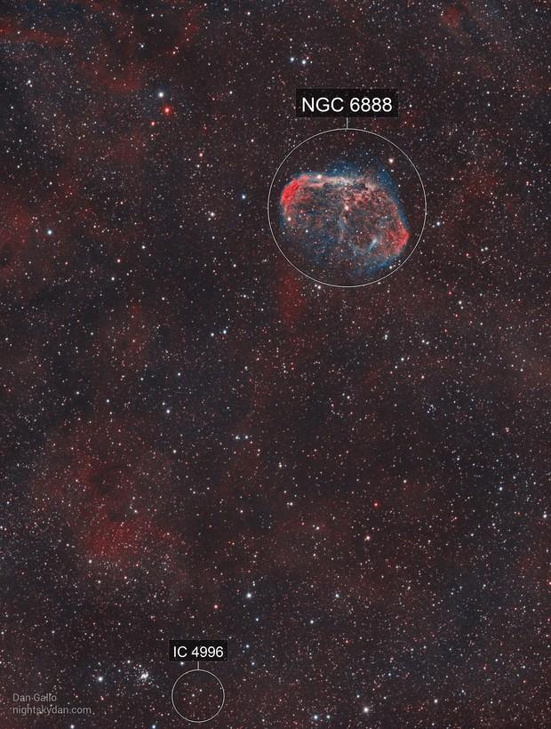 Crescent Nebula and Soap Bubble Nebula in HOO
