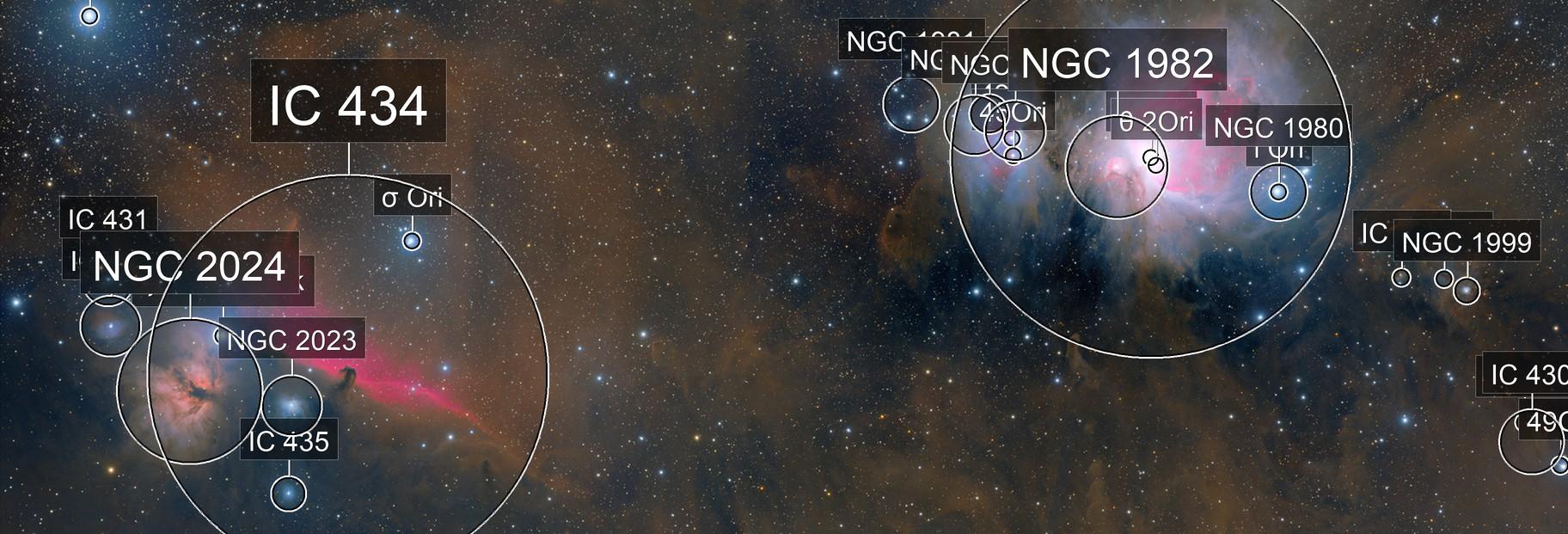 Horsehead Nebula and M42 - Two Panel Mosaic (HaRGB)