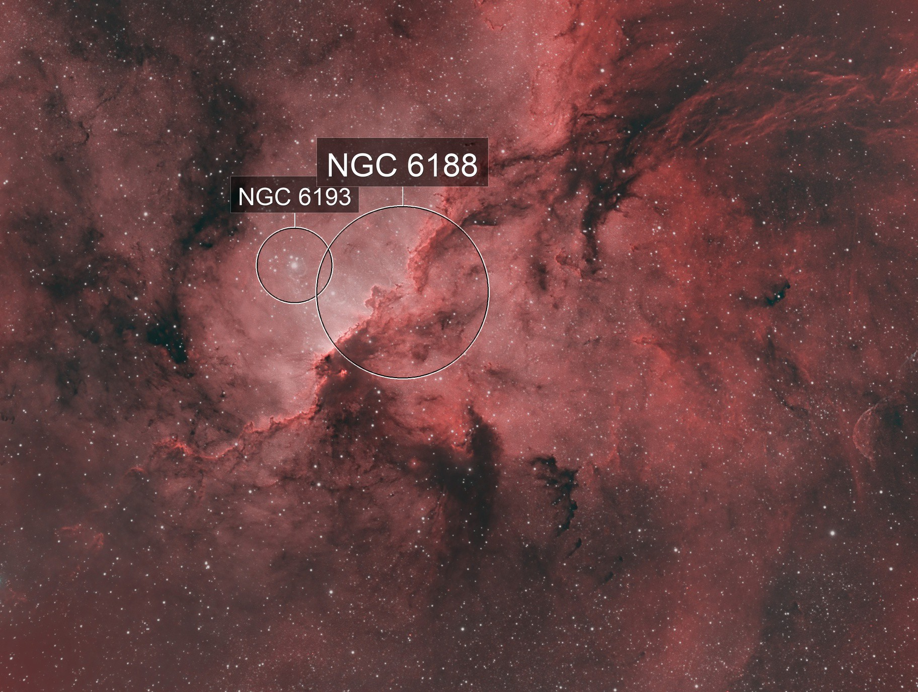 NGC 6188 Fighting Dragons of Ara - HOO