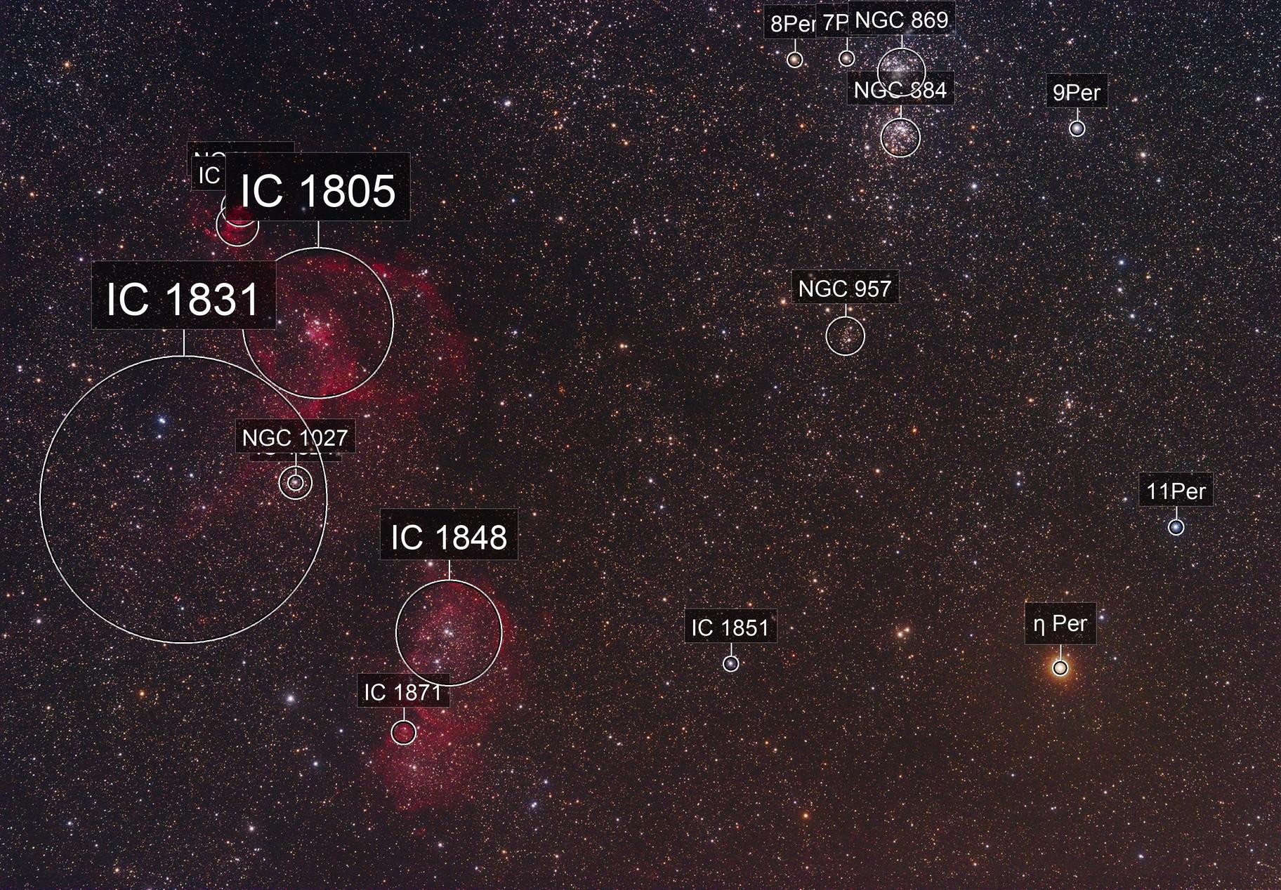 Heart Nebula, Soul Nebula, and Double Cluster