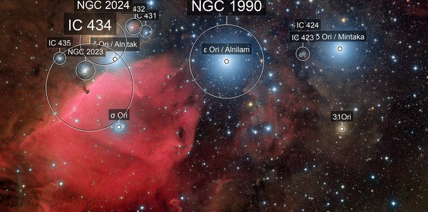 Orion belt, Horse head and flame nebula