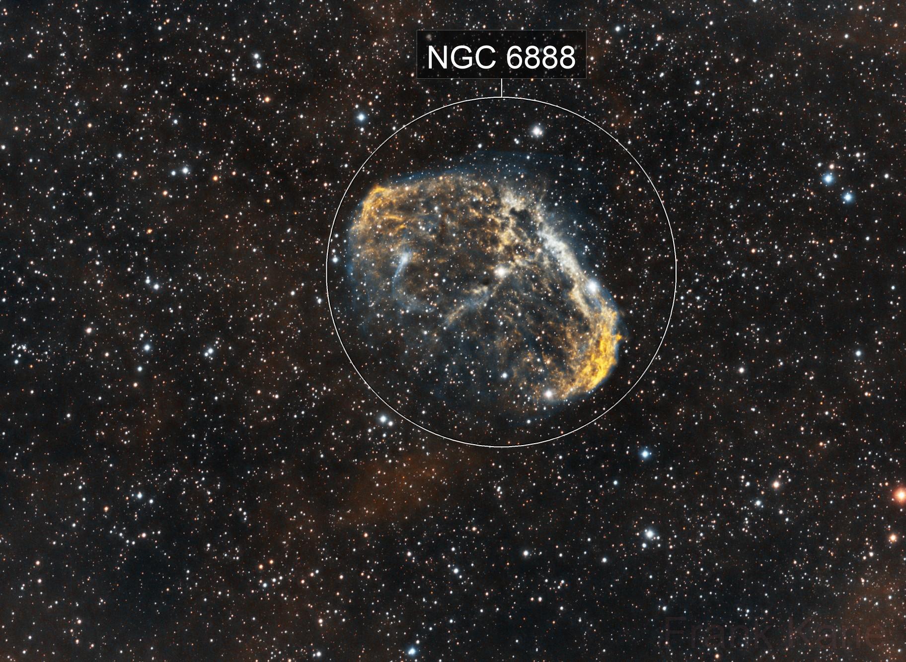 Crescent Nebula, narrowband-enhanced