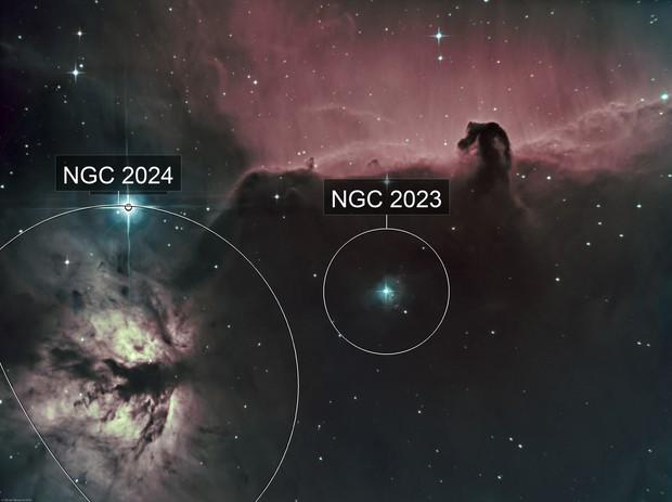 Horsehead nebula (IC434) & Flame Nebula (NGC 2024) Ha-SHO