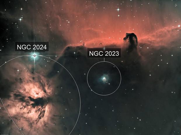 Horsehead nebula (IC434) & Flame Nebula (NGC 2024) Ha-HOO