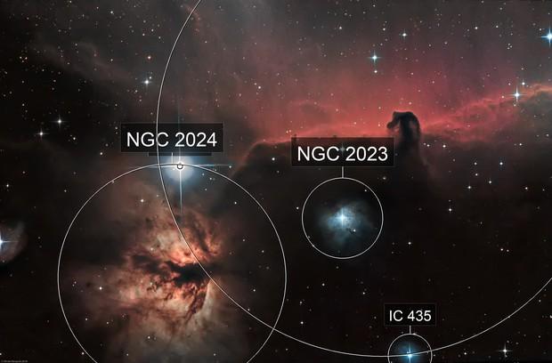 Horsehead nebula (IC434) & Flame Nebula (NGC 2024) Ha-RGB