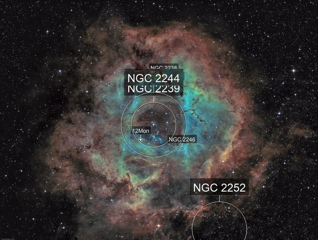 NGC 2237 - Rosette nebula (Ha-SHO)