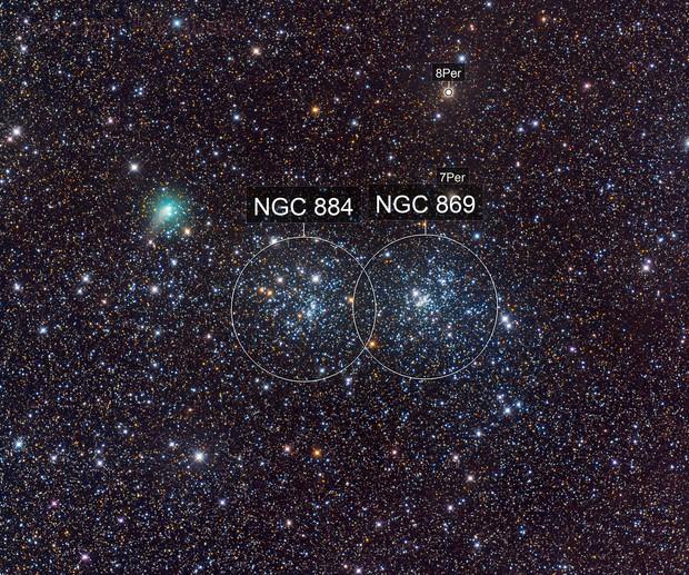 cometa C/2017 T2 Panstarrs vicino al doppio ammasso di Perseo