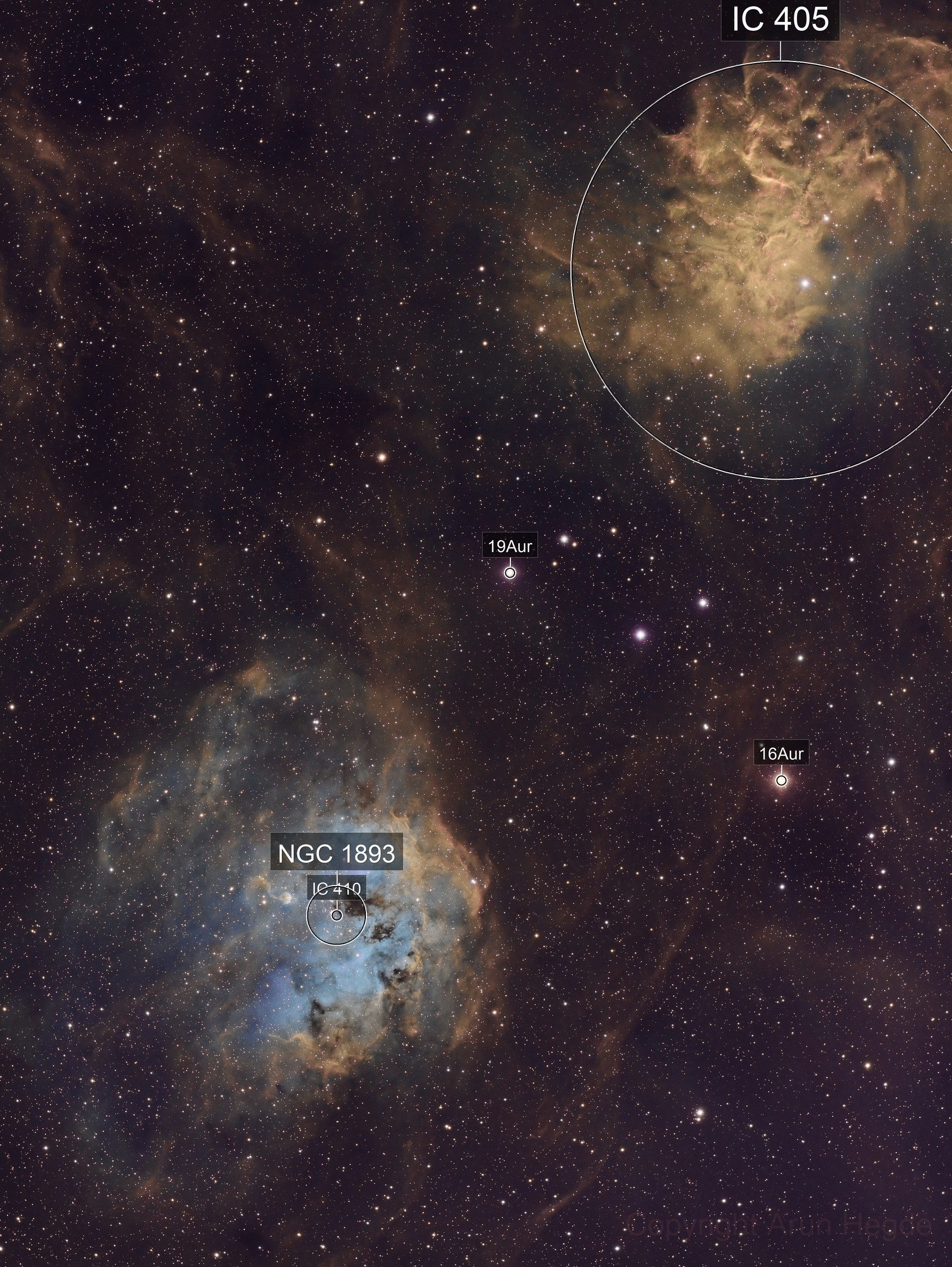 Tadpoles & The Flaming Star  - IC410+IC405 in SHO
