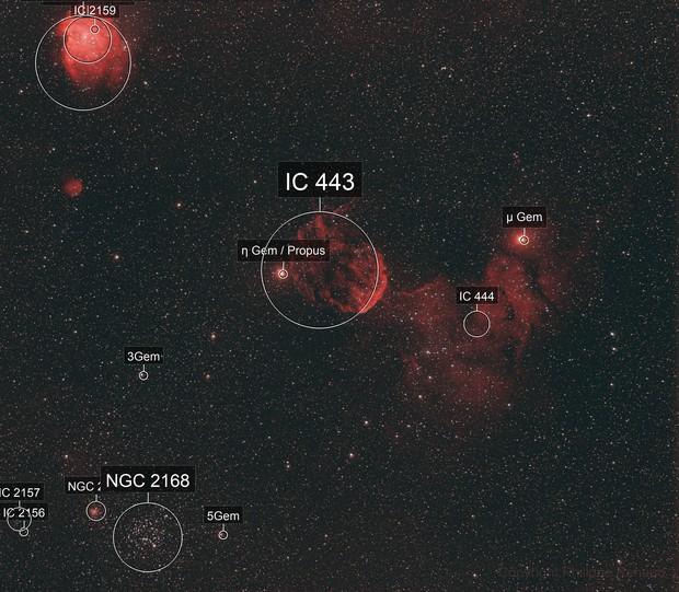 Jellyfish & Monkey head nebulae, M35 & NGC2158