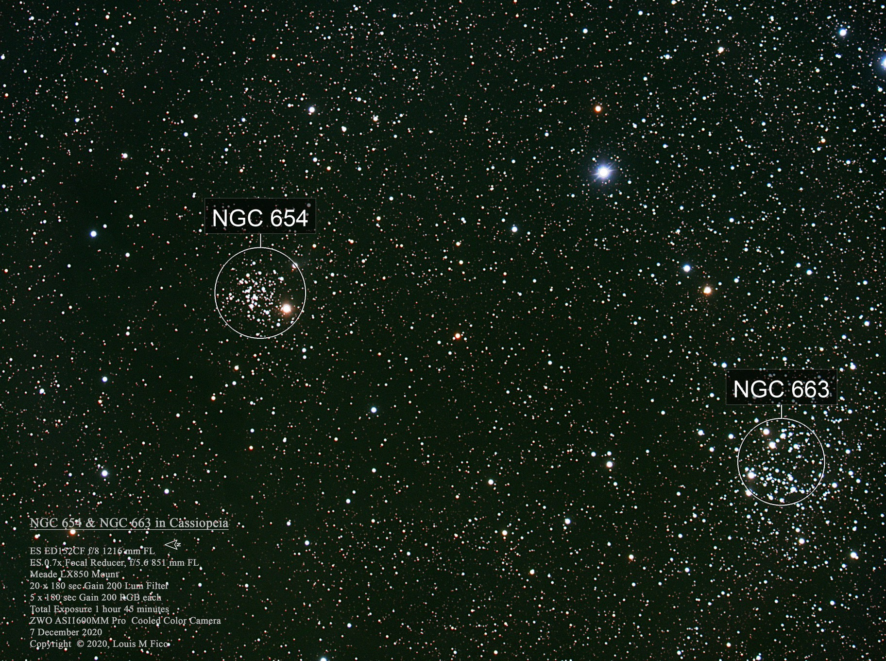 NGC 654 & NGC 663 in Cassiopeia