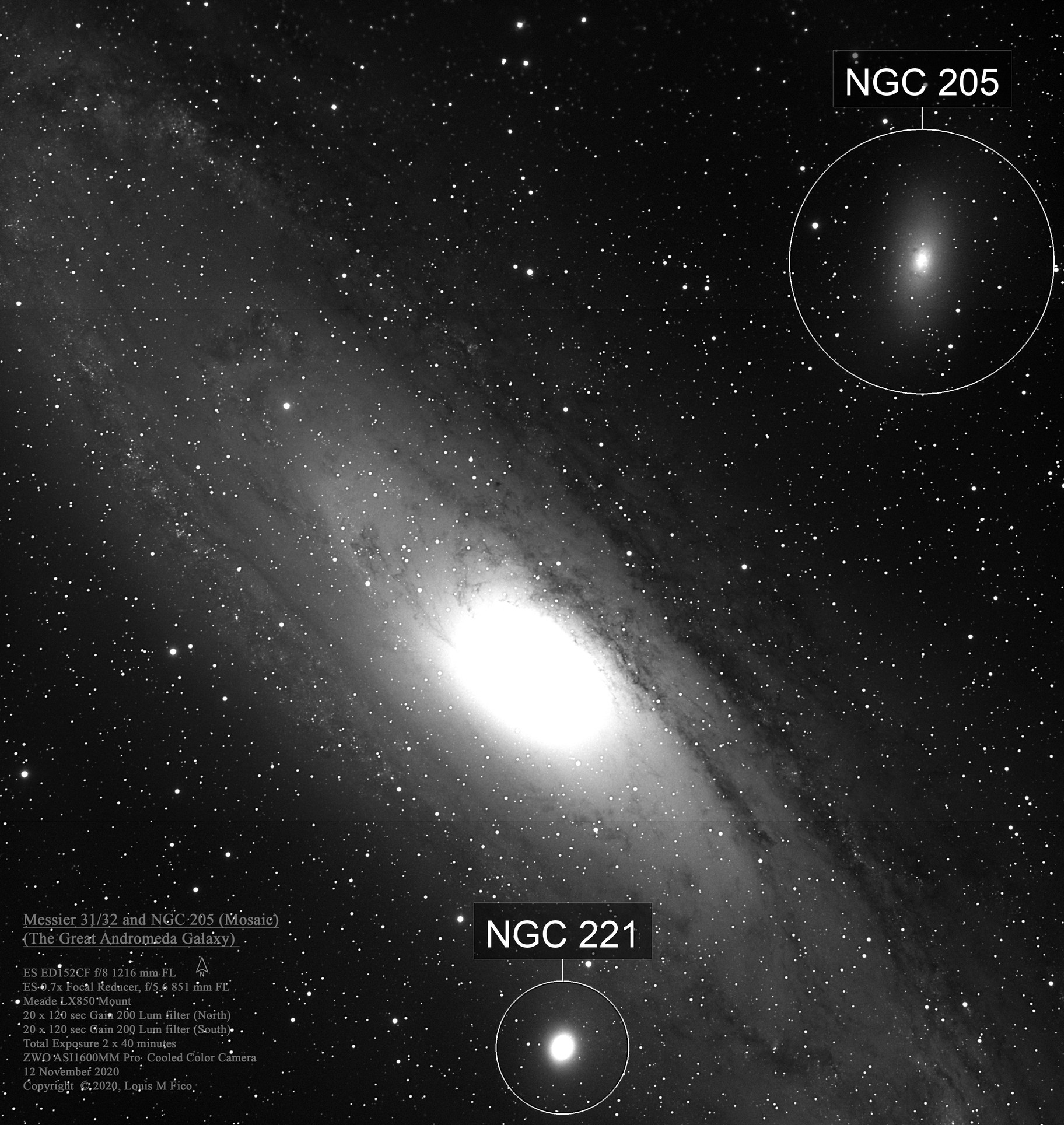 Messier 31, Messier 32, and NGC 205 Mosaic