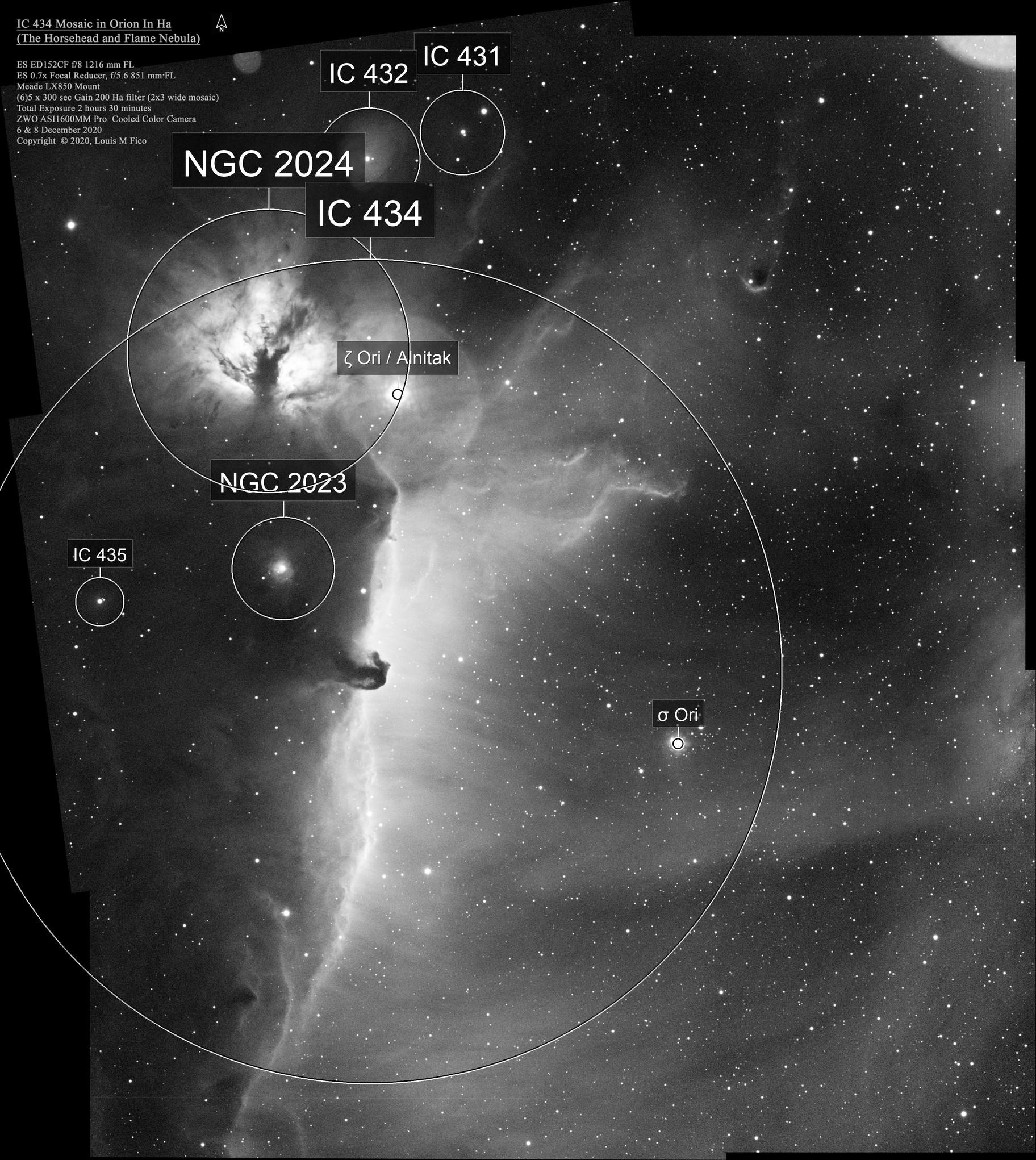 Horsehead and Flame Nebula 2x3 Mosaic