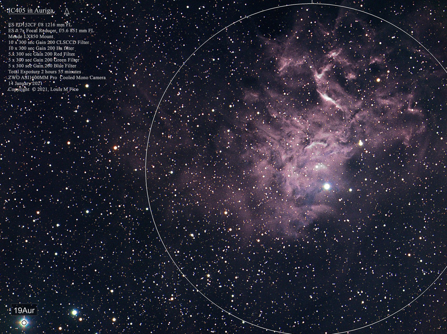 IC405 The Flaming Star Nebula