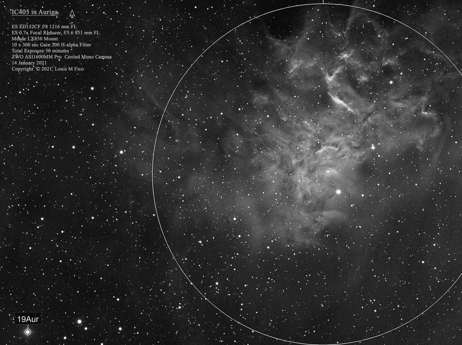 IC405 The Flaming Star Nebula in Ha